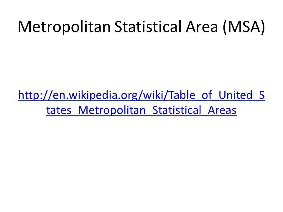Metropolitan Statistical Area (MSA)