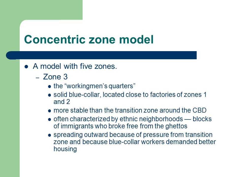 Concentric zone model A model with five zones. Zone 3