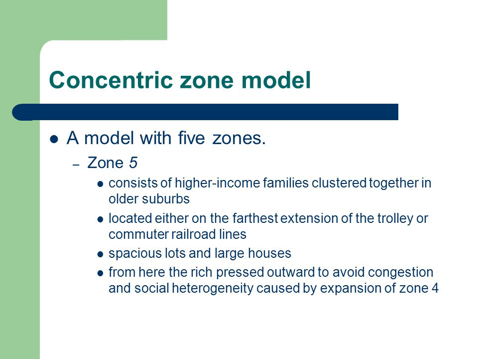 Concentric zone model A model with five zones. Zone 5