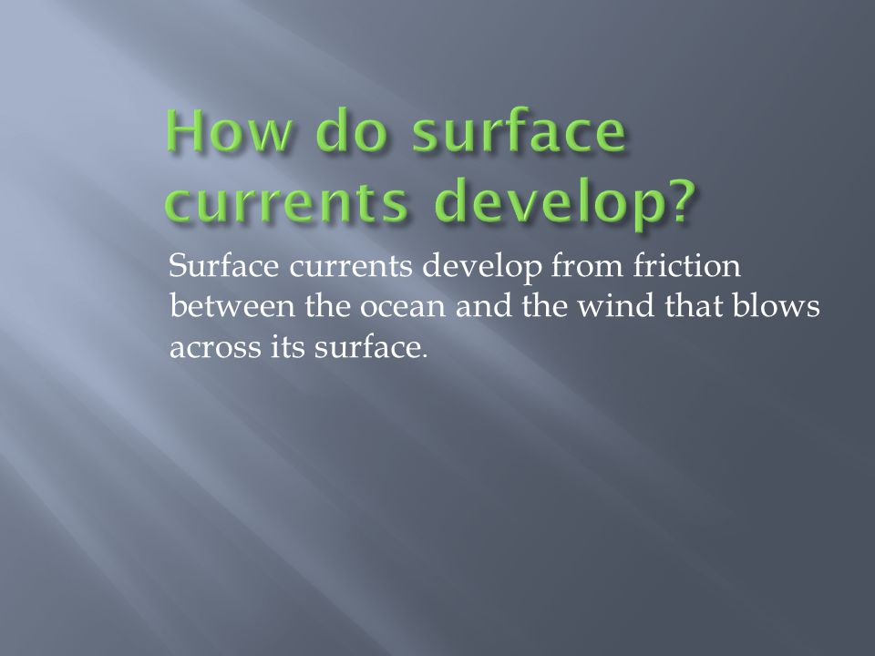 How do surface currents develop