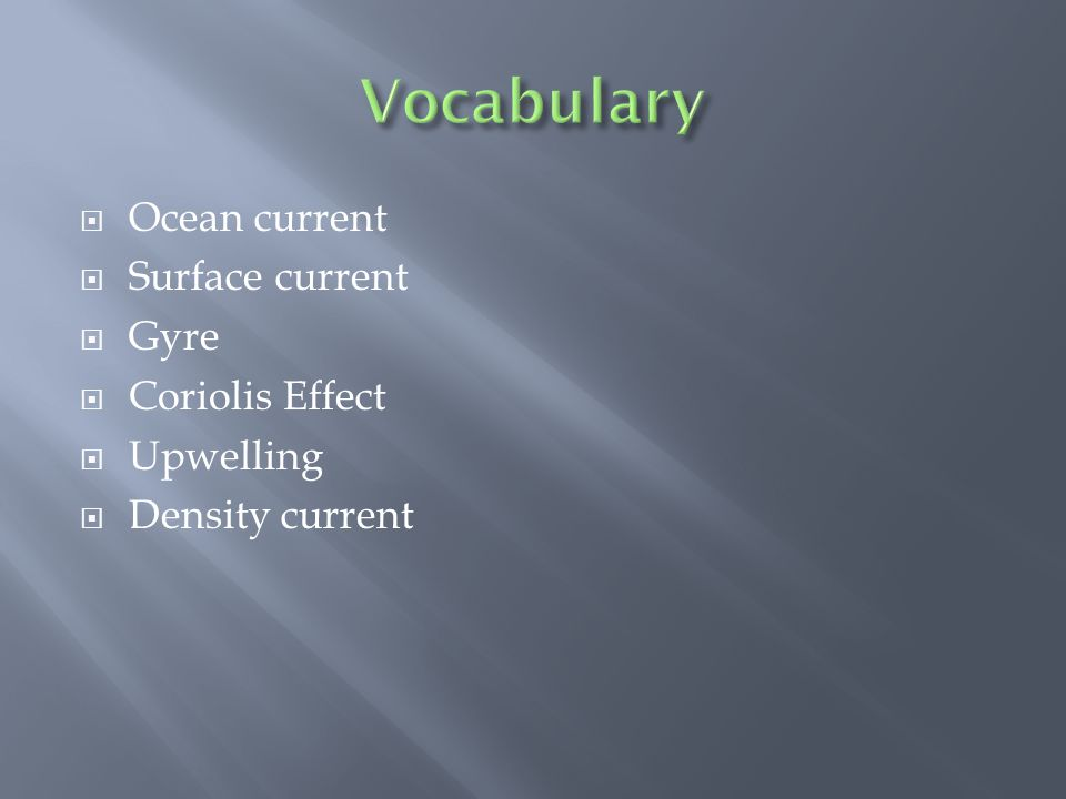 Vocabulary Ocean current Surface current Gyre Coriolis Effect