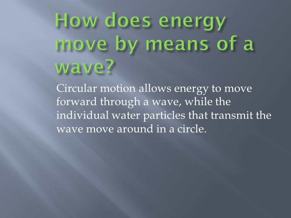 How does energy move by means of a wave