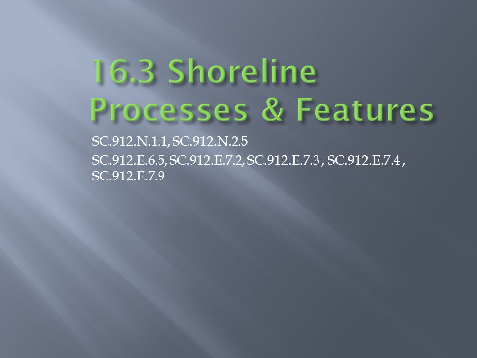 16.3 Shoreline Processes & Features