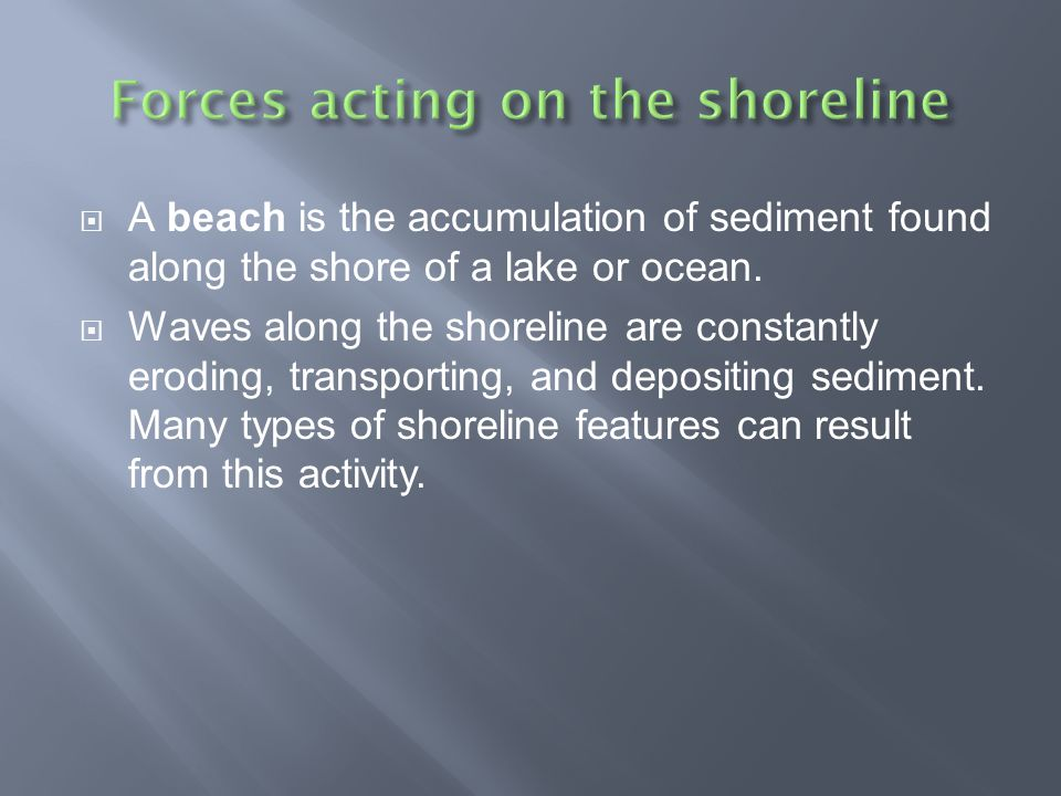 Forces acting on the shoreline