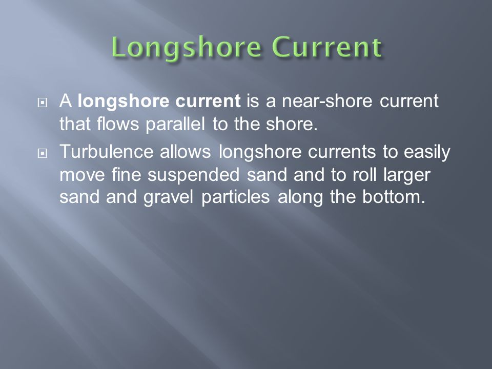 Longshore Current A longshore current is a near-shore current that flows parallel to the shore.