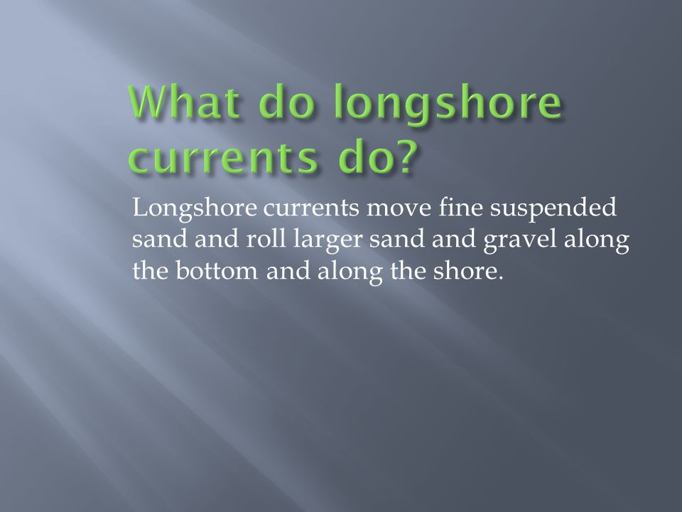 What do longshore currents do