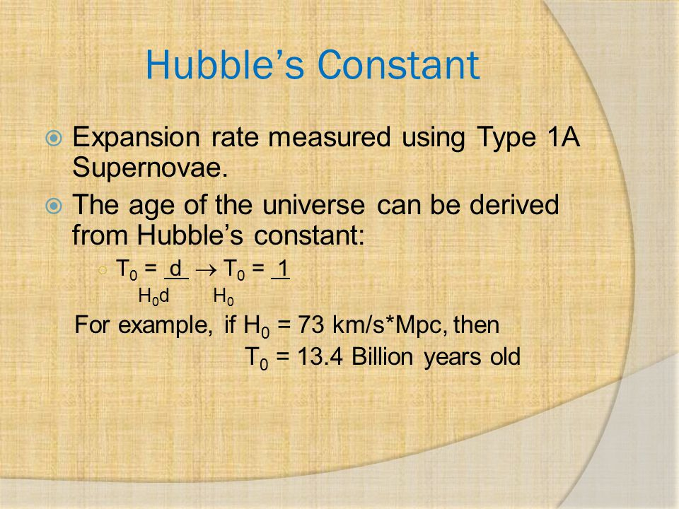 Hubble's Constant Expansion rate measured using Type 1A Supernovae.