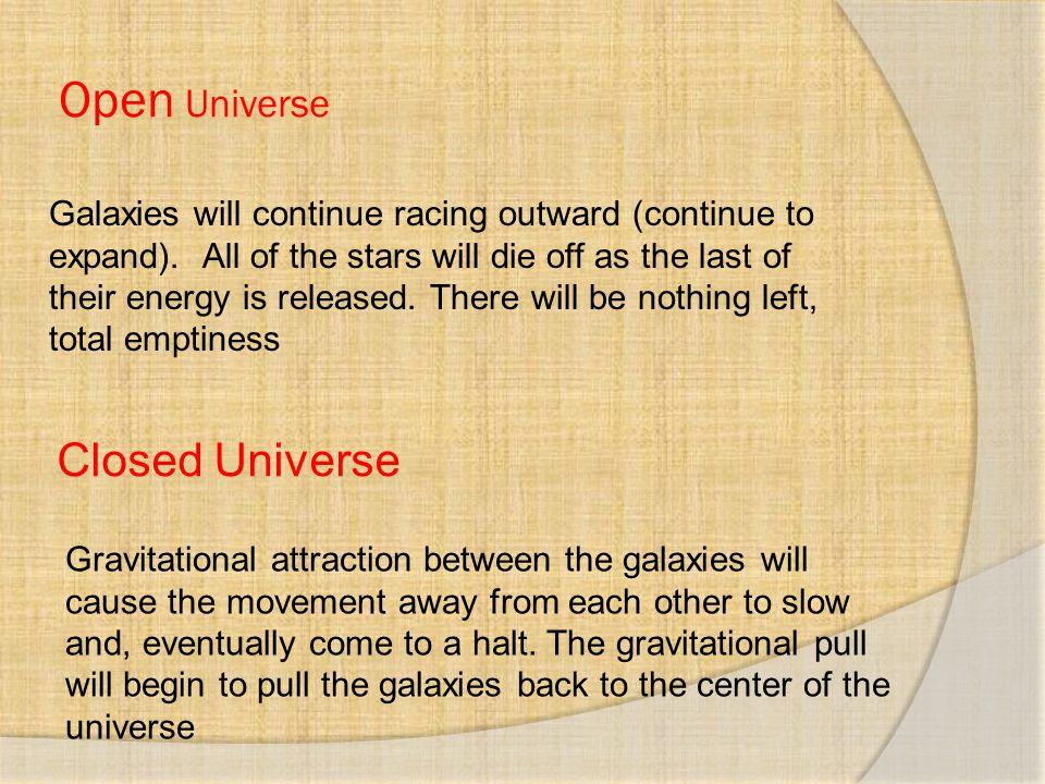 Open Universe Closed Universe