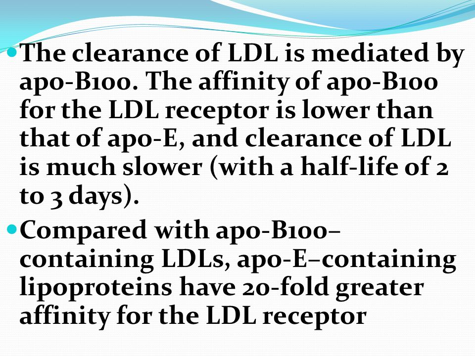 The clearance of LDL is mediated by apo-B100