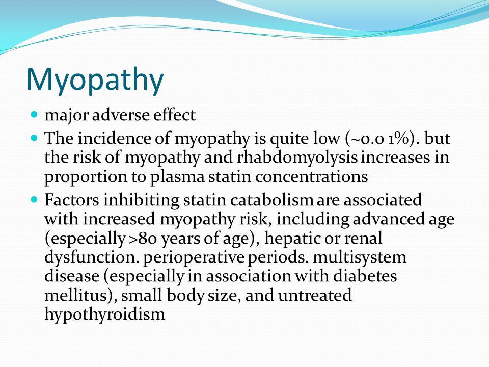 Myopathy major adverse effect