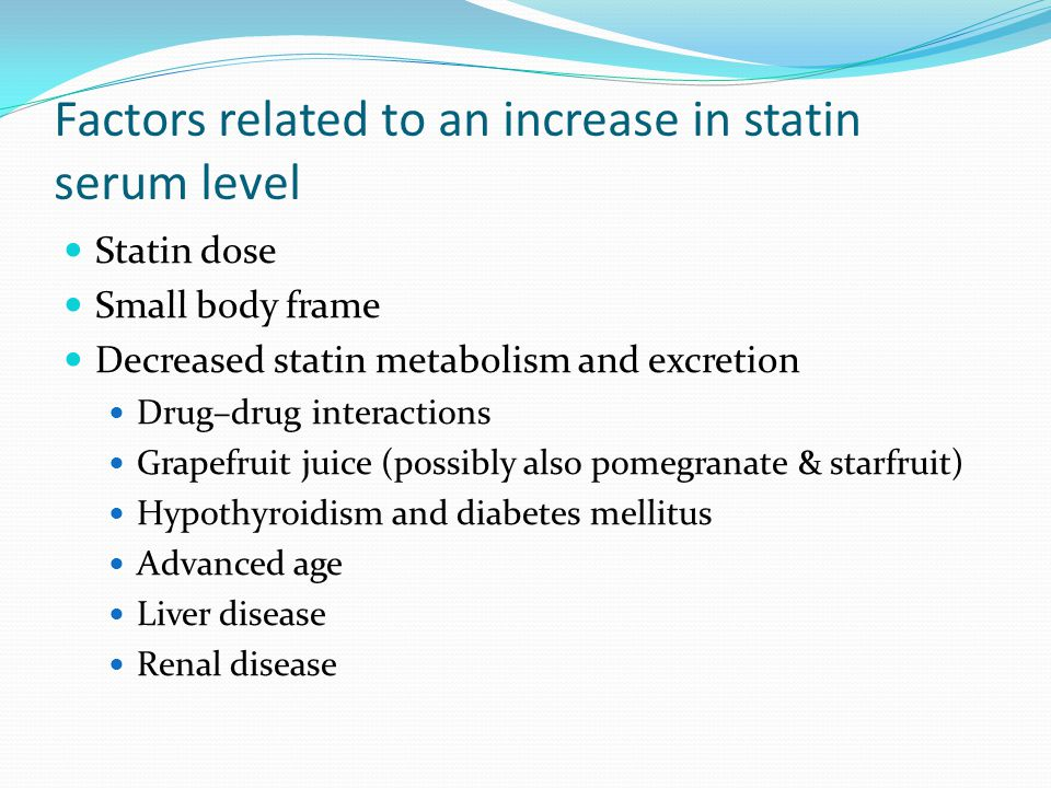 Factors related to an increase in statin serum level