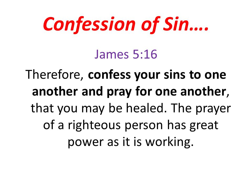 Confession of Sin….