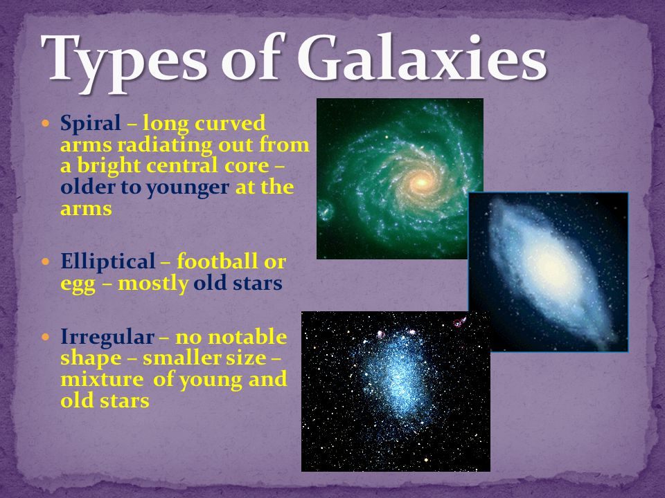 Types of Galaxies Spiral – long curved arms radiating out from a bright central core – older to younger at the arms.