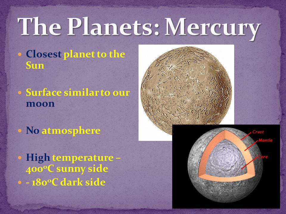 The Planets: Mercury Closest planet to the Sun