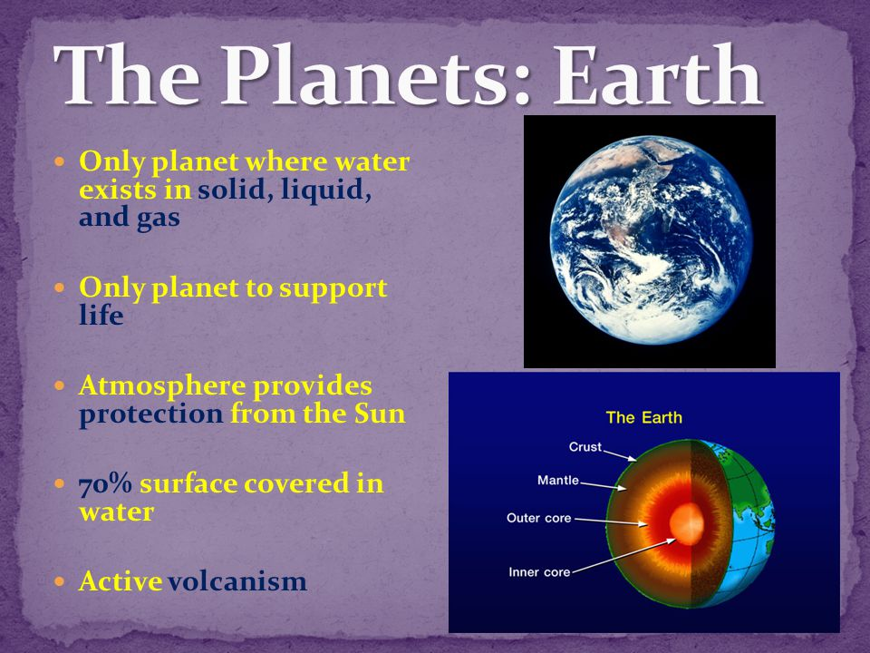 The Planets: Earth Only planet where water exists in solid, liquid, and gas. Only planet to support life.