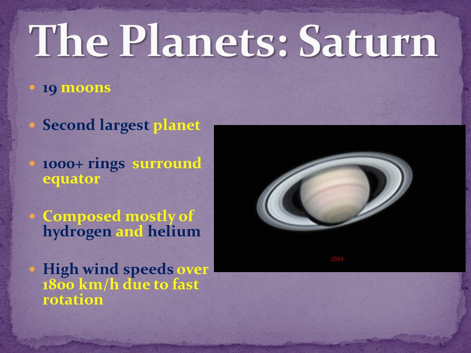 The Planets: Saturn 19 moons Second largest planet