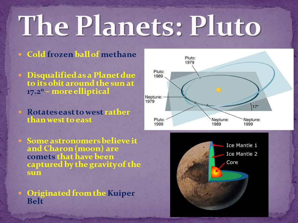 The Planets: Pluto Cold frozen ball of methane