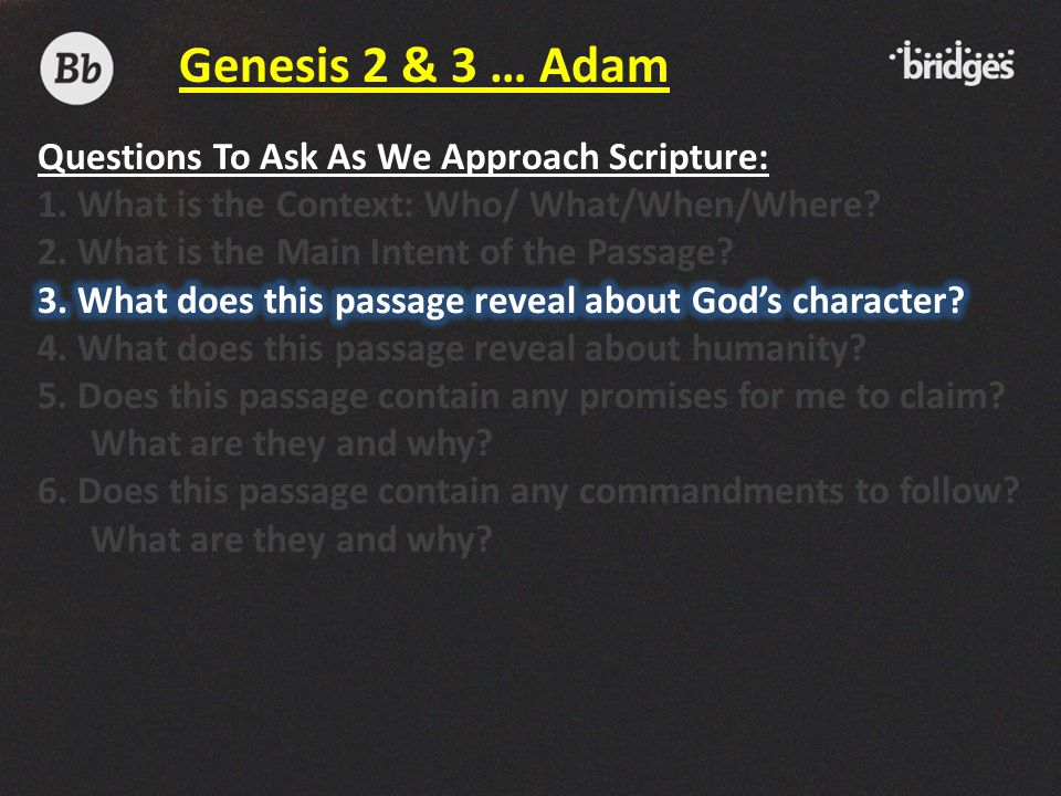 Genesis 2 & 3 … Adam Questions To Ask As We Approach Scripture: