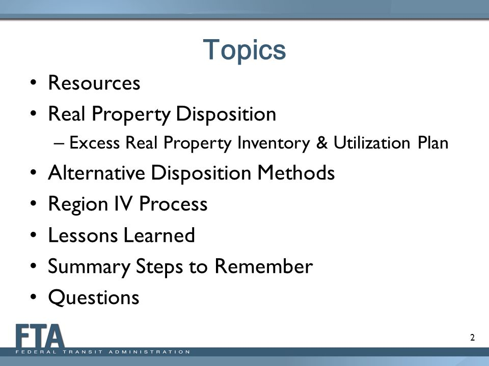 Topics Resources Real Property Disposition