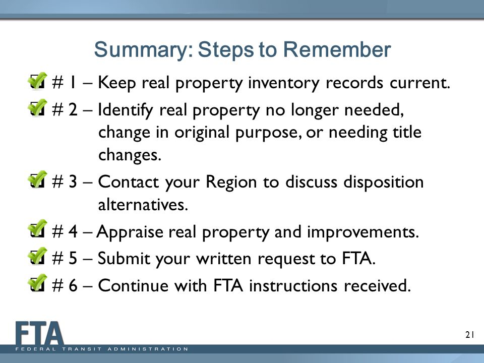 Summary: Steps to Remember