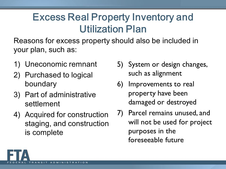 Excess Real Property Inventory and Utilization Plan