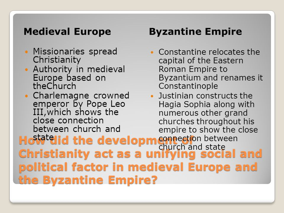 Medieval Europe Byzantine Empire. Missionaries spread Christianity. Authority in medieval Europe based on theChurch.