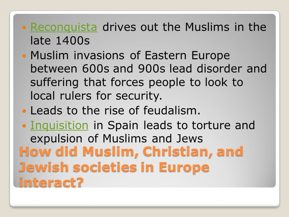 How did Muslim, Christian, and Jewish societies in Europe interact