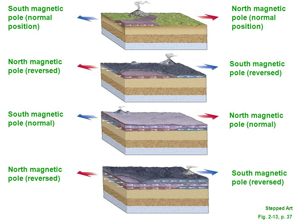 South magnetic pole (normal position) North magnetic pole (normal