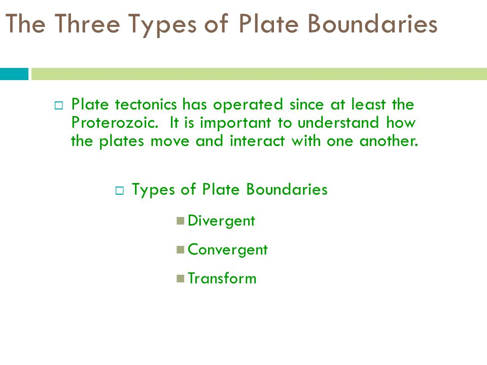 The Three Types of Plate Boundaries