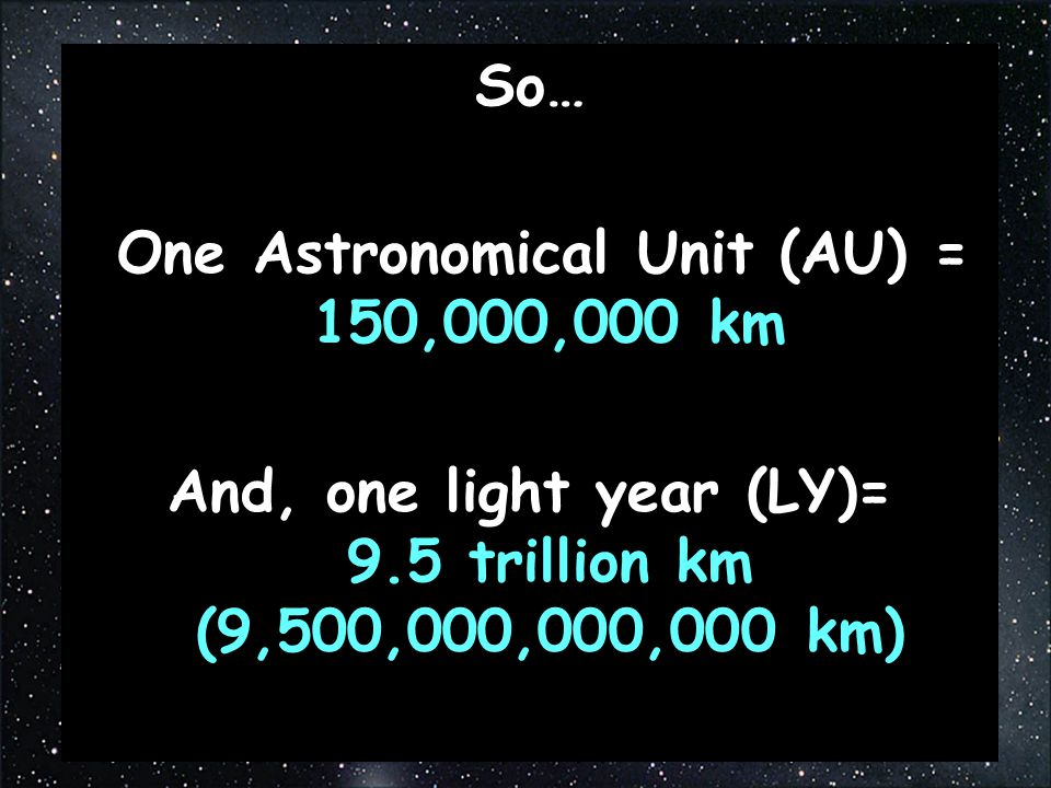 One Astronomical Unit (AU) = 150,000,000 km