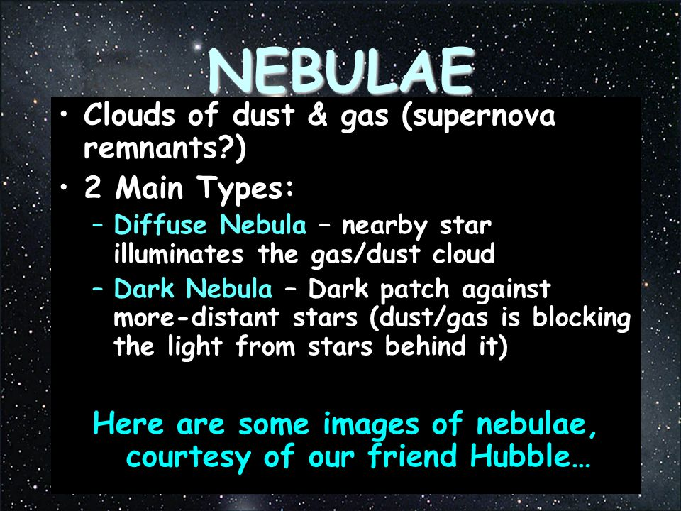 Here are some images of nebulae, courtesy of our friend Hubble…
