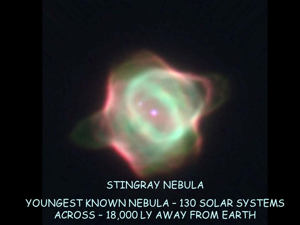 STINGRAY NEBULA YOUNGEST KNOWN NEBULA – 130 SOLAR SYSTEMS ACROSS – 18,000 LY AWAY FROM EARTH