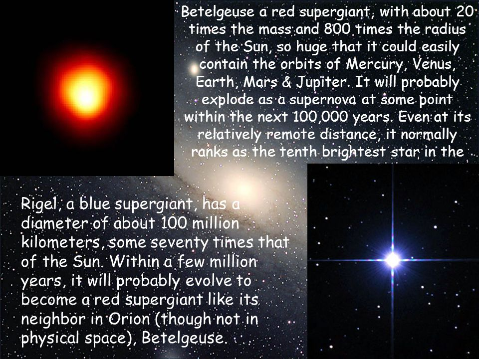 Betelgeuse a red supergiant, with about 20 times the mass and 800 times the radius of the Sun, so huge that it could easily contain the orbits of Mercury, Venus, Earth, Mars & Jupiter. It will probably explode as a supernova at some point within the next 100,000 years. Even at its relatively remote distance, it normally ranks as the tenth brightest star in the sky.