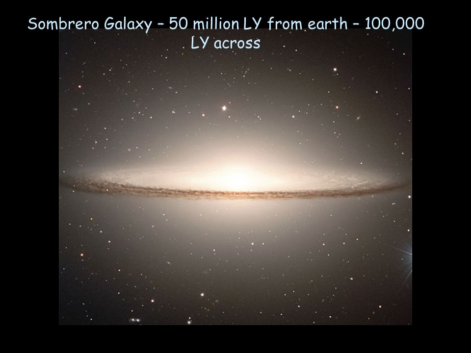 Sombrero Galaxy – 50 million LY from earth – 100,000 LY across