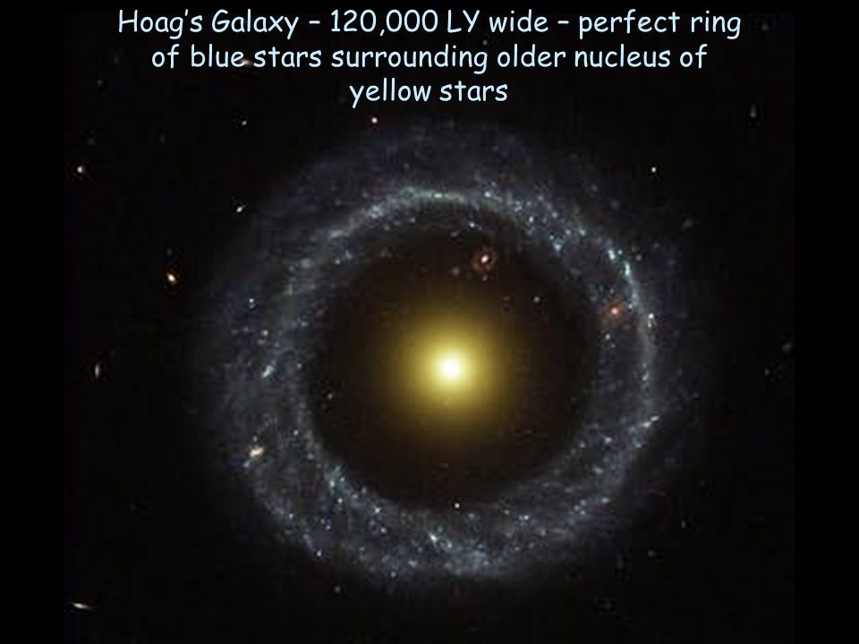 Hoag's Galaxy – 120,000 LY wide – perfect ring of blue stars surrounding older nucleus of yellow stars
