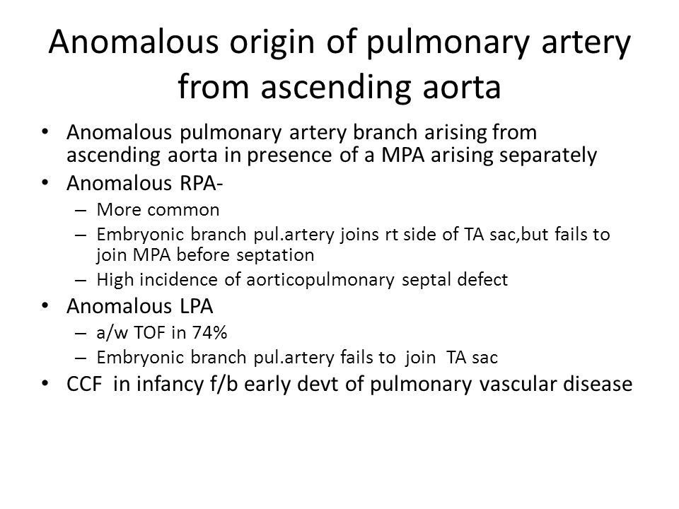 Anomalous origin of pulmonary artery from ascending aorta