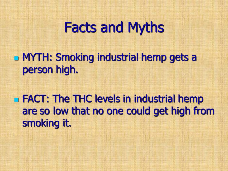 Facts and Myths MYTH: Smoking industrial hemp gets a person high.