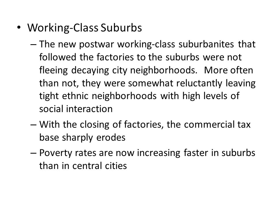 Working-Class Suburbs