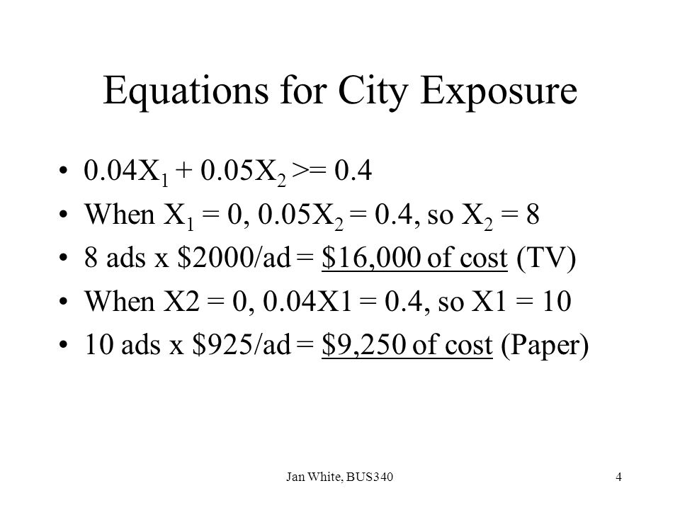 Equations for City Exposure
