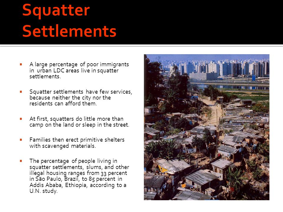 Squatter Settlements A large percentage of poor immigrants in urban LDC areas live in squatter settlements.