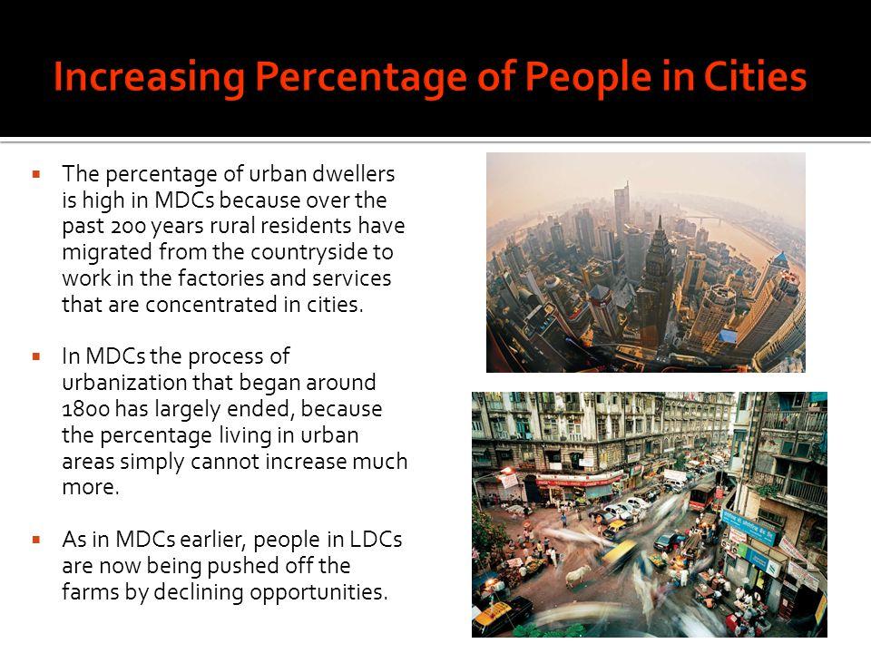 Increasing Percentage of People in Cities