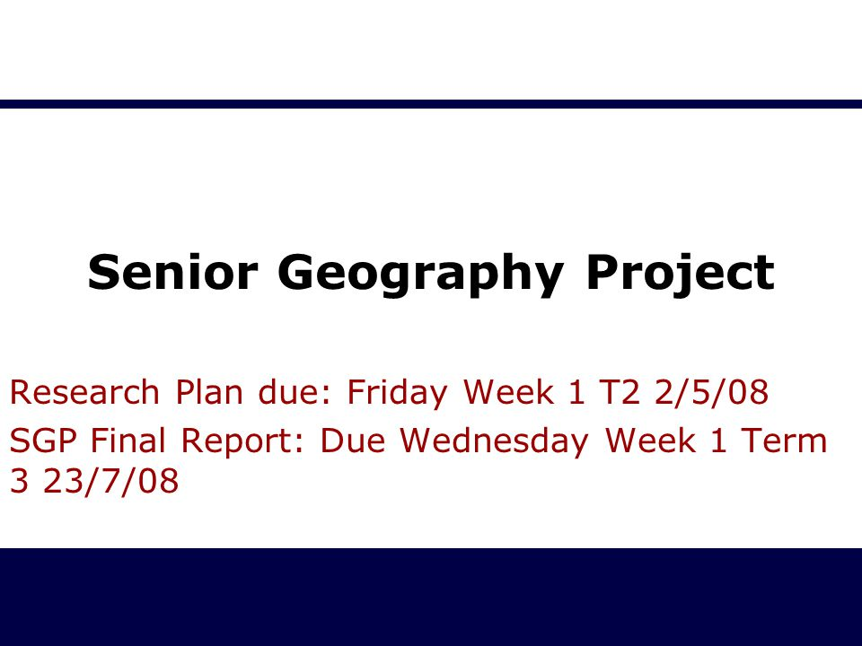 Senior Geography Project