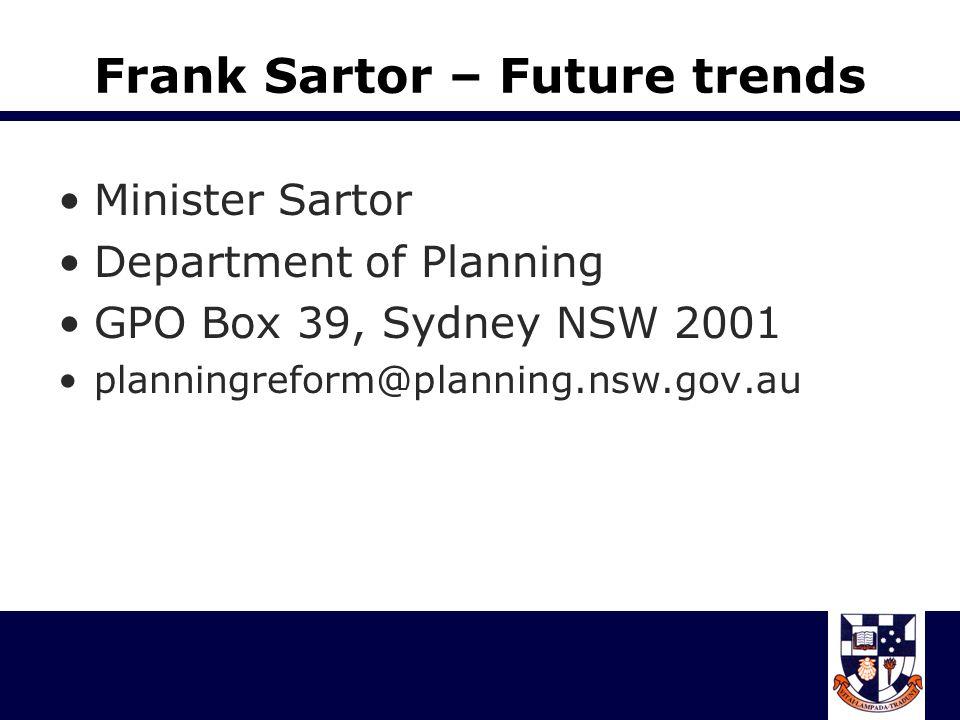 Frank Sartor – Future trends