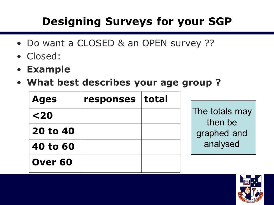 Designing Surveys for your SGP