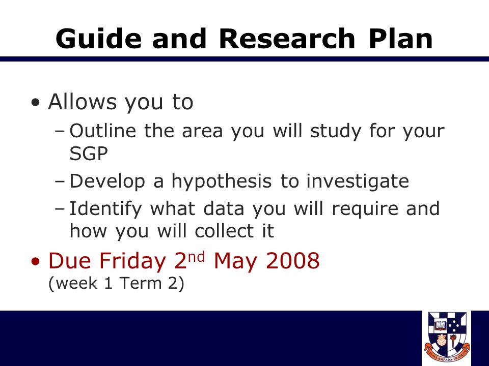 Guide and Research Plan