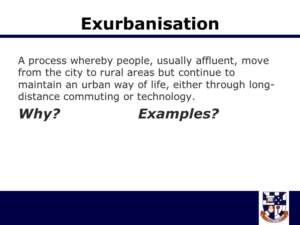 Exurbanisation Why Examples