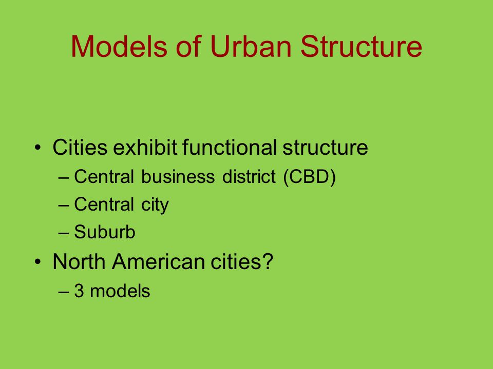 Models of Urban Structure