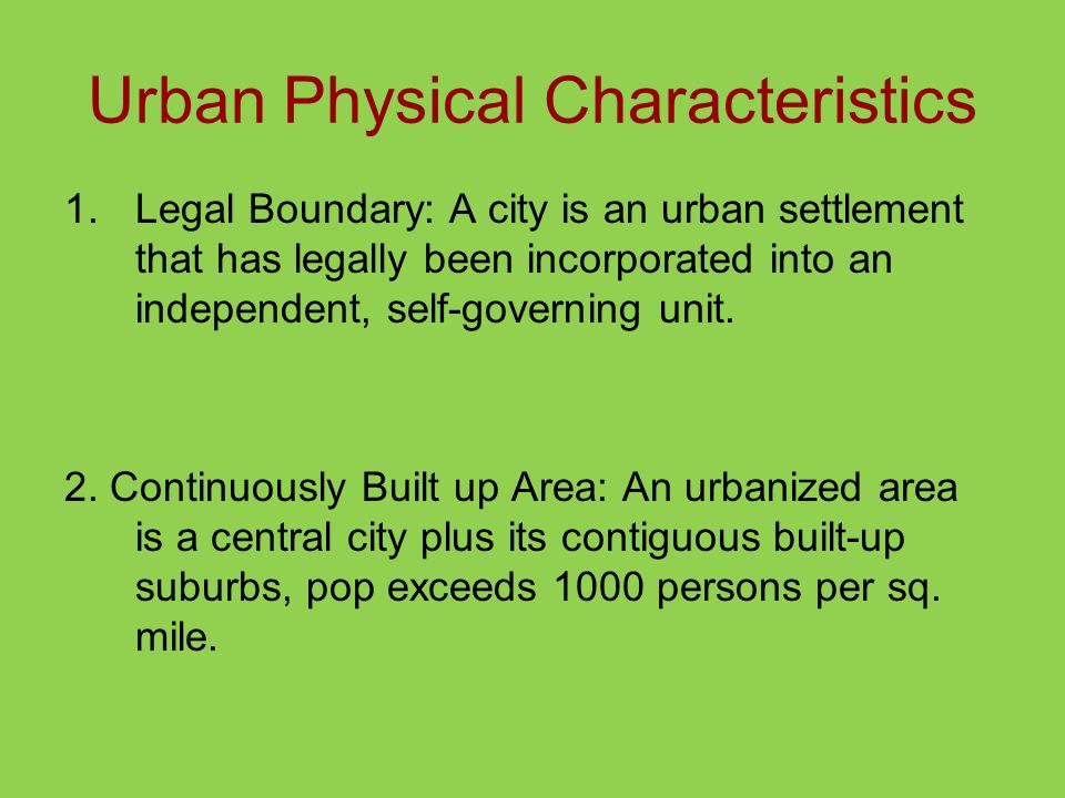 Urban Physical Characteristics