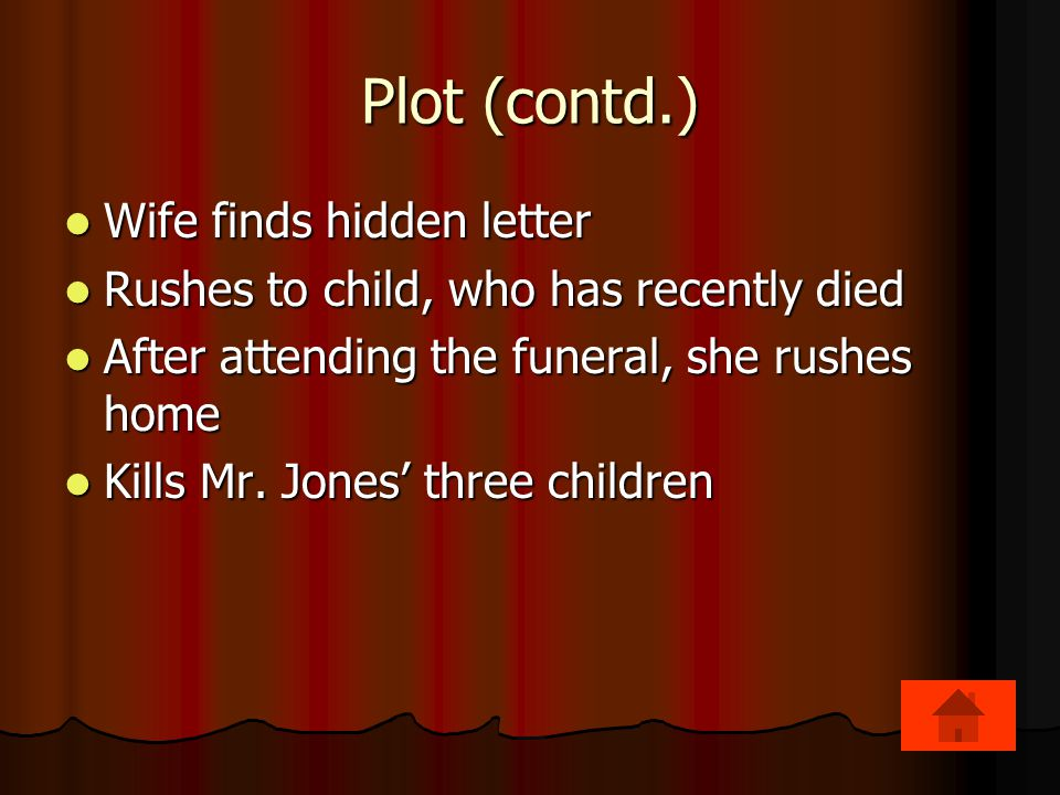Plot (contd.) Wife finds hidden letter