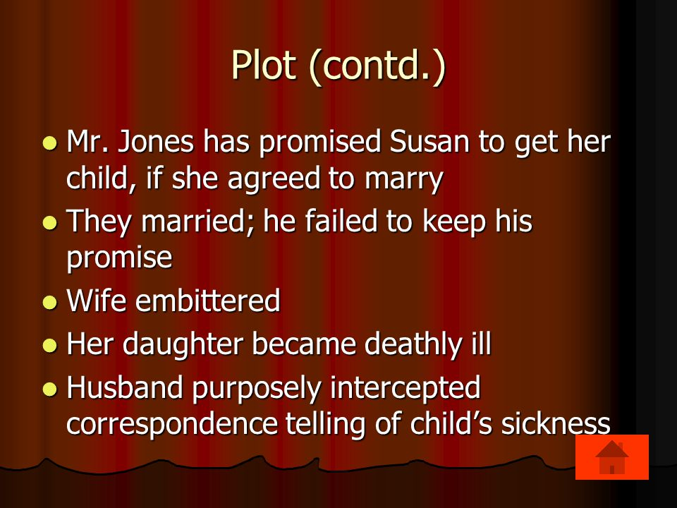 Plot (contd.) Mr. Jones has promised Susan to get her child, if she agreed to marry. They married; he failed to keep his promise.